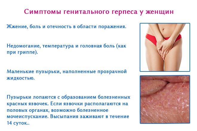 герпес в интимной зоне фото симптомы у женщин